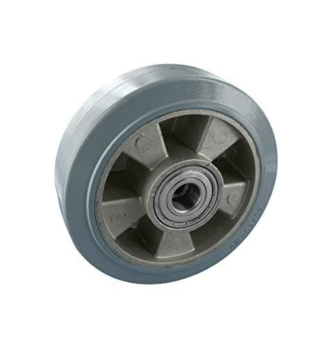 Rad auf Aluminiumfelge, Elastic, Schwenklager, temperaturbeständig, grau, 100 x 40 mm, ohne Feststeller, Tragkraft 180 kg