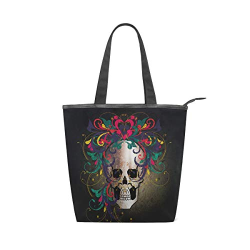 NaiiaN Leichte Gurt-Einkaufstasche-Geldbeutel-Einkaufen-Handtaschen für Frauen-Mädchen-Damestudenten-Schädel-Blumenhaar-Buchstabe-Umhängetaschen