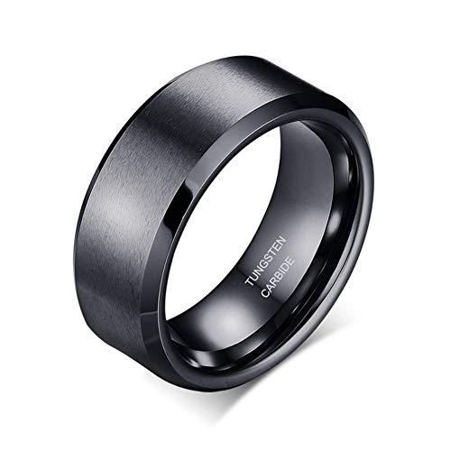 Sj Fashion Anillo de boda de tungsteno negro de 8 mm para hombre, acabado mate, borde pulido, ajuste cómodo, tamaño Y