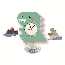 Mary & Jason Wall Clock for Kids Bedroom Girls, Dinosaur and Egg Pendulum Clock, Silent Non-Ticking