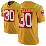 FDRYA Gurley Rǎms American Football Maillot Nº 30, Jersey Rugby Match Jersey Numéro T-Shirt Chemise De Ventilateur BlackGold À Manches Courtes, Jerseys De Jeu orange1-XL