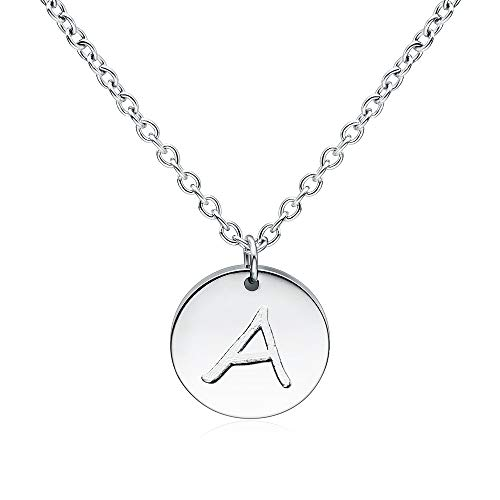 Three Keys Jewelry A Initial Necklace Silver Disc Charm Infinity Coin Dainty Chain Name Mini Letter Link Pendant Mom Engraved Necklace for Women