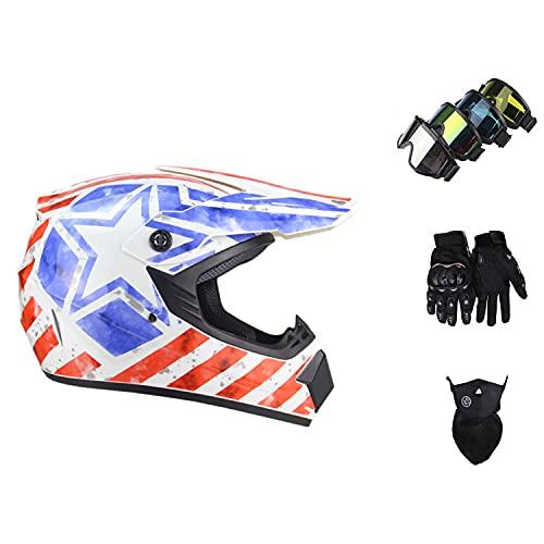 STZYY Cascos De Motocicleta Todoterreno Profesionales, Cascos De MTB Integrales para Adultos Y NiñOs con Gafas/Guantes/Protectores Faciales