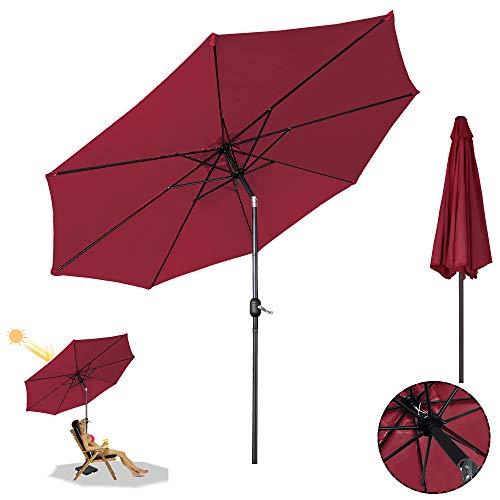 LZQ Sonnenschirm, Ø 300 cm, Marktschirm mit Kurbel, UV-Schutz UPF 40+, Gartenschirm, Terrassenschirm, Sonnenschutz, ohne Ständer, Outdoor, für Garten, Balkon, Terrasse, Rot