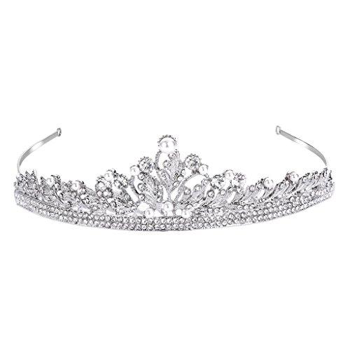 FANZE Damen Österreichen Kristall Cream Künstliche Perlen Vintage Blatt Vine Braut Prinzessin...