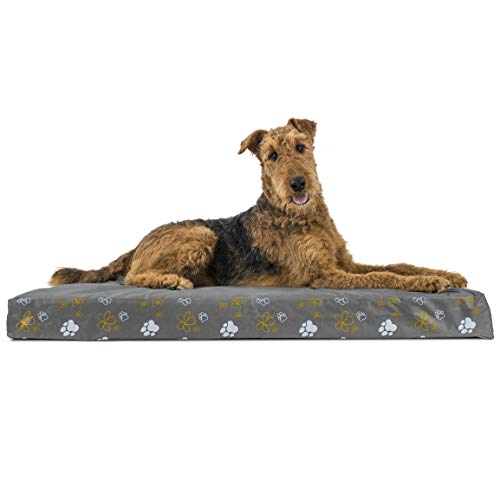 Furhaven Pet Dog Bed - Deluxe Orthopedic Mat Water-Resistant Indoor-Outdoor Garden Traditional Foam Mattress Pet Bed with Removable Cover for Dogs and Cats, Iron Gate, Jumbo