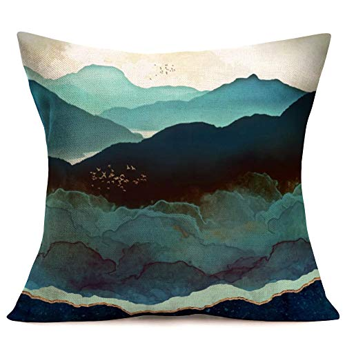 Fukeen Watercolor Scenery Throw Pillow Cases Cotton Linen Decorative Ink Painting Mountain Trees Birds Swallow Pillow Cushion Cover 18x18 Inch Home Sofa Outdoor Decor Square Pillowcase