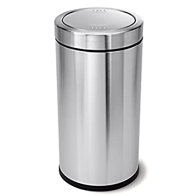 simplehuman CW1442 55L Swing Top Bin, Brushed Heavy-Gauge Stainless Steel, W 37.6cm x H 74.2cm x D 37.6cm