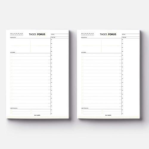 Tagesplaner Block 2er Set - Din A5 minimalistisches Design mit To Do Liste, Zeitplanung, Habit Tracking und Priorisierung (Tagesplaner)