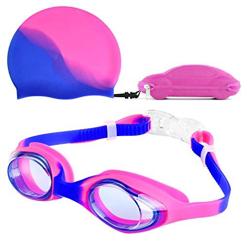 Reignet Occhialini da Nuoto, occhialini da Nuoto per Bambini Anti-Appannamento, Ponte nasale Flessibile, Design Aderente 3D, per Bambini e Ragazzi (4-15 Anni) (Rosa)