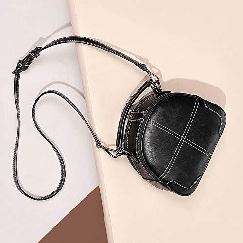 Générique Sac pour Femme Tide Fashion Wild Atmosphere Large-Band Messenger Bag Small Bag Tempérament Sac à bandoulière épais Belt-Tempérament Noir