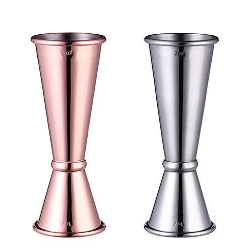 Lifreer 2 piezas de alcohol medidas 30/60 ml jarra de cóctel Daul taza de medición para bar, fiesta, vino, cóctel, bebida, coctelera de tomo, medidas de cobre, oro y plata