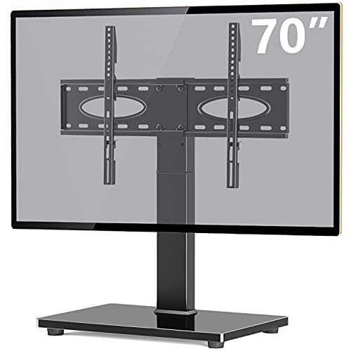 TAVR Universal Tabletop TV Stand Swivel TV Stand Base for 37 to 70 inch Flat/Curved Screen TVs – Height Adjustable TV Table Stand,Tempered Glass Base,Wire Management,VESA 600x400mm,Hold up to 88 lbs
