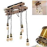 Rimforsa - Lámpara de techo de madera natural y metal negro, 6 bombillas colgantes de latón con casquillo ajustable para 6 bombillas E27 máx. 60 W, compatible con bombillas LED