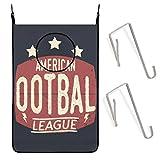 Panier à Linge Suspendu Logo de l'Union de Rugby. Ballon de Football américain. Panier à Linge Hipster Retro Symbol 51X76CM