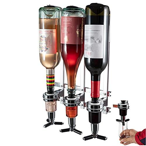 3 Bottle Wall Mounted Liquor Dispenser, Wine Dispenser Aluminum Alloy Holder Stand Set, Alcohol Dispenser for Home Bar & Party (30ML)