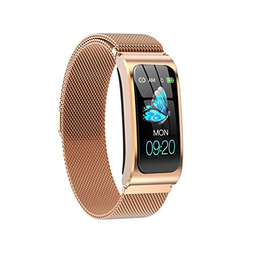 YNLRY Reloj inteligente para hombre AK12, pulsera inteligente para mujer, IP68, impermeable, presión arterial, monitor de ciclo menstrual, rastreador de fitness, banda inteligente (color dorado)