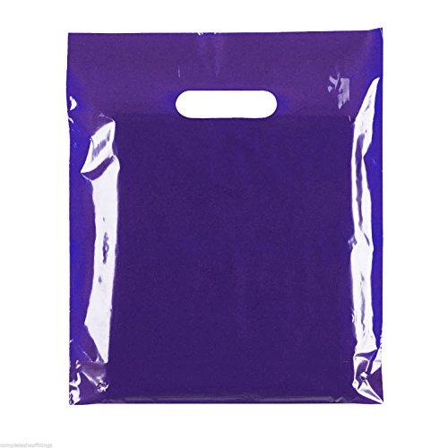 100 bolsas de plástico con asa troquelada, 38,1 x 45,7 cm + 7,6 cm (azul (45 micras), 38,1 x 45,7 cm + 3 (39 x 45 cm)