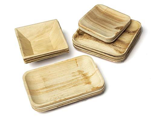BIOCHIC - Kit 32 Piatti Monouso Ecosostenibili e Compostabili in Foglia di Palma - Quadrato con Piatto Rettangolare