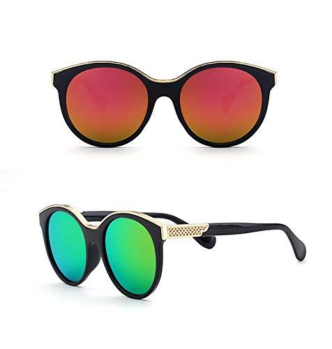 P-WEIAN zonnebril, modieus, retro, rond, gekleurd frame, groot frame, modieus, uniseks Moyen Cadre noir mercure rouge