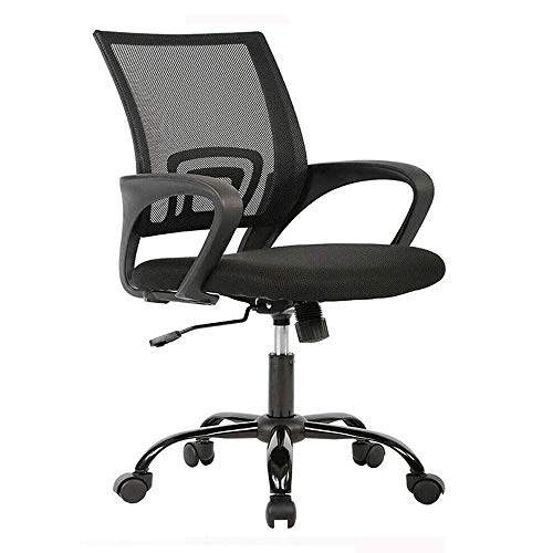 300lbs 360° Swivel Heavy Duty Office Chair Ergonomic Cheap Desk Chair Mesh Computer Chair Lumbar Support Modern Executive Adjustable Stool Rolling Swivel Chair for Back Pain, Black