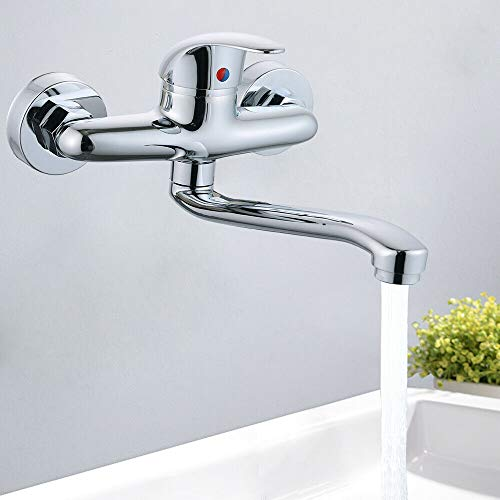 Wasserstrahlarten Wandarmatur Küchenarmatur Wandmontage Einhebelmischer Wasserhahn Wand Armatur mit schwenkbarerem Auslauf