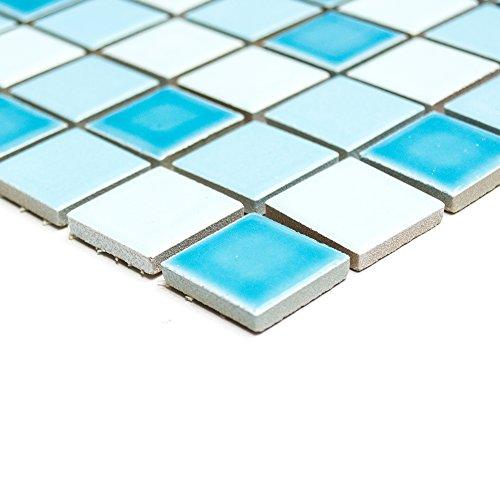 Piastrelle Mosaico Mosaico Piastrelle Bagno quadrato in ceramica blu mix lucido 6mm nuovo # 237