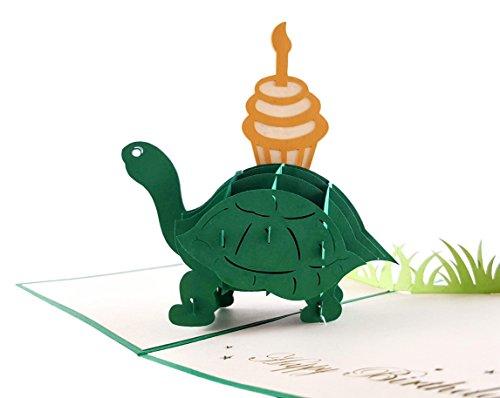 igifts und Karten Schildkröte mit Cupcake Geburtstag Pop Up Grußkarte 3D–Lustige Tiere, Schildkröte, Kuchen, Kerze–flach zusammenklappbar–Verspätete Geburtstag, Happy Birthday