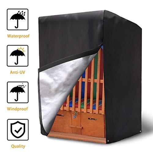 NASUM Schutzhülle Strandkorb Abdeckung für Strandkorb aus 420D Oxford Gewebe Wasserdicht und Winterfest Strandkorbhülle 135x105x175/140cm