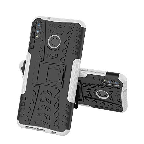 FUNCASE Kasus untuk Xiaomi Redmi 7, Dual Layer TPU + PC Hybrid Armor Tutup Pelindung dengan Kickstand Tahan Lama [Tekstur] untuk Xiaomi Redmi 7, Putih