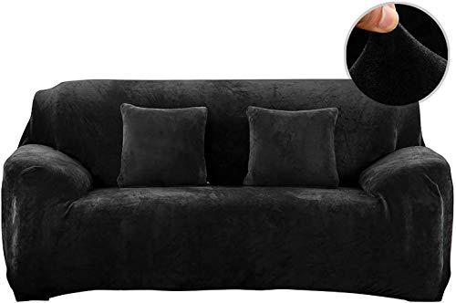 PENGMAI Fundas de sofá elásticas de 1/2/3/4 plazas gruesas fundas de sofá de terciopelo de fácil ajuste, tela elástica, protector de sofá para mascotas, terciopelo, negro, 3 Seater/Sofa