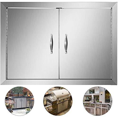 Mophorn BBQ Access Door BBQ Door 28 X 19 Inch BBQ Island Door Brushed Stainless Steel Perfect for Outdoor Kitchen or BBQ Island (28W x 19H)