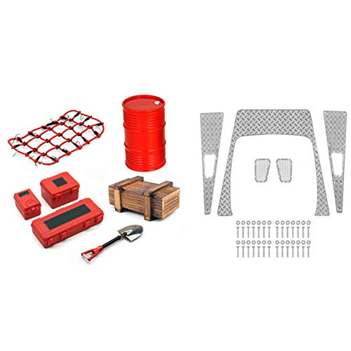 Nrpfell 7PCS Decoration Luggage Net Shovel for Axial SCX10 D90 A & 1set Metal Anti-Skid Plate Intake Grille Engine Cover