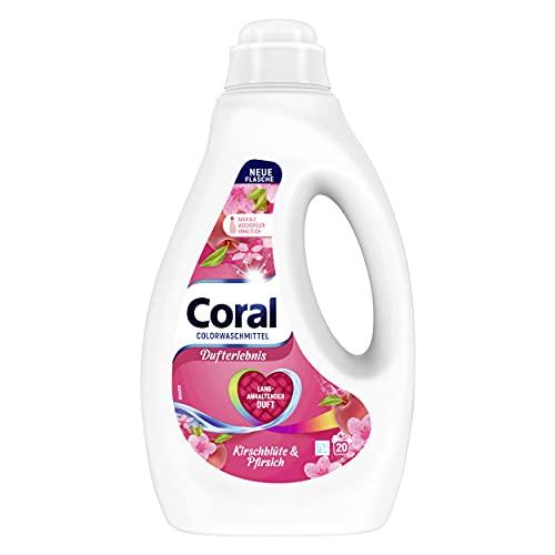 Coral Dufterlebnis Colorwaschmittel Kirschblüte & Pfirsich Flüssigwaschmittel für bunte Wäsche mit langanhaltendem Duft 20 WL (1 x 1L)