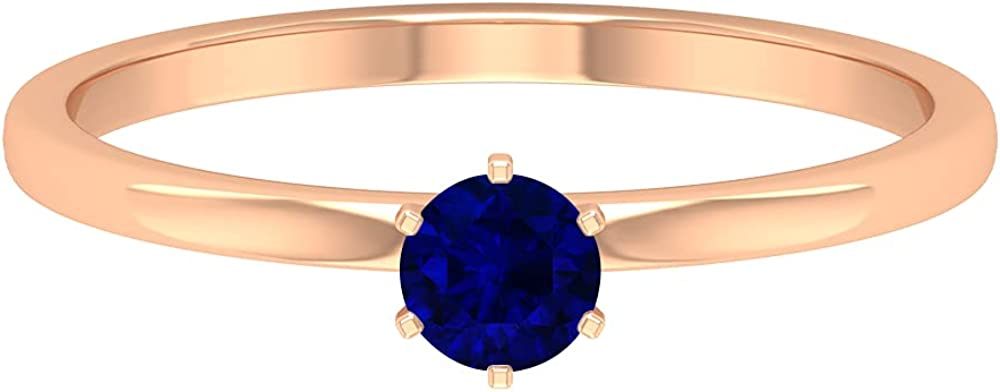 September Birthstone -1/2 CT Claw Set Blue Sapphire Solitaire Promise Ring with Split Shank (AAA Quality), 14K Gold