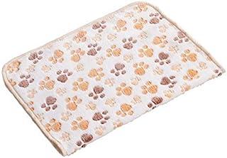 DORLIONA 3 Colors Cute Pet Floral Hot Dog Cat Paw Print Dog Soft Dog Puppy Fleece Blanket Pet Dog Beds 40X60 cm:Beige, M