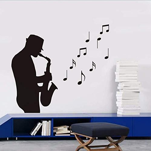 Bandsman spelen saxofoon Vinyl muur Stickers Kids kamer slaapkamer stickers muziek noot kwekerij muurschilderingen Home Decor Poster 44 * 63Cm