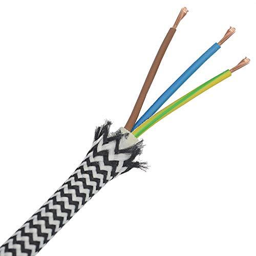 1,20 Meter Textilkabel Schwarz Weiß im Zick-Zack 3-adrig Stoffkabel für Pendel- und Hängeleuchten Stromkabel mit Stoff Textil gezackt Lampenkabel