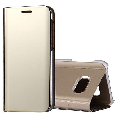 LINSHAOHUI For Samsung Galaxy A5 (2017)/A520 Espejo de electrochapado Horizontal Funda de Cuero con Tapa con Soporte (Color : Gold)