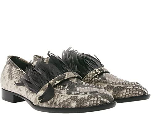 AGL Attilio Giusti Leombruni Echtleder-Mokkassins auffällige Damen Slipper Made in Italy Penny-Loafer Animal Grau, Größe:41