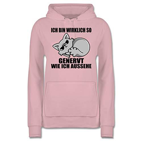 Sprüche - Ich Bin wirklich so genervt wie ich aussehe - S - Hellrosa - Hoodie Spruch Damen - JH001F - Damen Hoodie und Kapuzenpullover für Frauen
