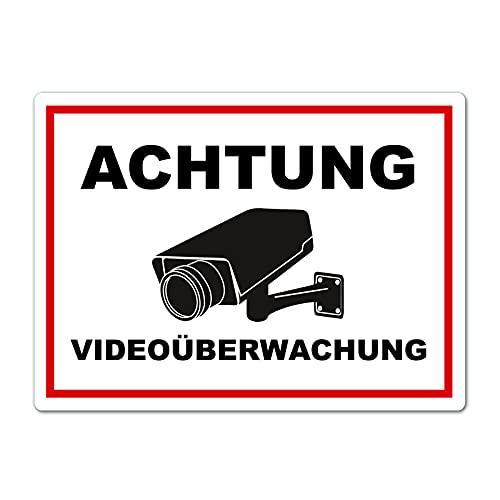 XXL Achtung Videoüberwachung Schild 40 x 30 cm aus Stabiler PVC Hartschaumplatte 5mm Dieser Bereich Wird überwacht Schild mit UV-Schutz von STROBO