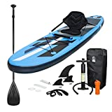 ECD Germany Tabla Hinchable Paddle Surf con Asiento Kayak Sup 305 x 78 x 15 cm Azul Stand up Paddle...