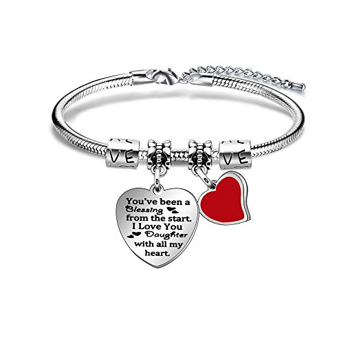 Daughter Gifts Daughter Bracelet for Women Adjustable Heart Pendant Bangle Gifts from Mum Dad Family