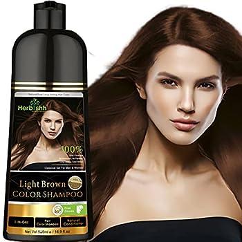Herbishh Hair Color Shampoo for Gray Hair – Natural Hair Dye Shampoo – Colors Hair in Minutes–Long Lasting–500 Ml–3-In-1 Hair Color–Ammonia-Free   Herbishh  Light Brown