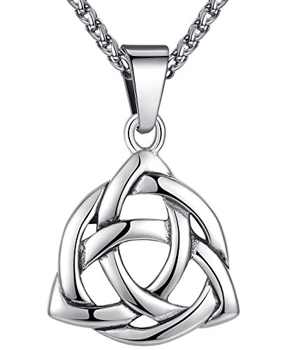 Stainless Steel Celtic Knot Irish Triquetra Lucky Love Pendant (LARGE) Necklace, 24' Chain, aap126