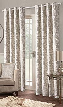 IHF Jacquard Leaves Textured Designer Lined Grommet Eyelet Panels Curtains Drapes  Beige 52  x 108