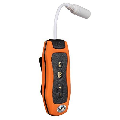 Beauneo 8GB MP3 Musica Lettore Subacqueo Nuoto Diving Spa FM Radio + Cuffie Waterproof Arancia