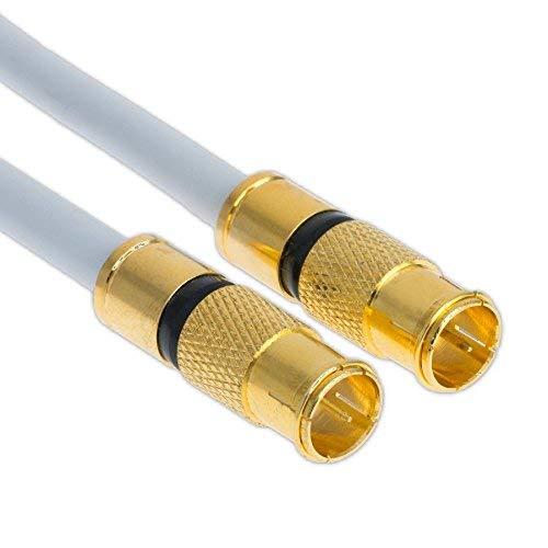 1m Satkabel 135 db Quick F-Stecker Schnellstecker Sat Kabel DIGITAL Antennenkabel Koaxial Router Anschlusskabel HD 4K UHD (1m, Weiß - 2X F-Schnellstecker)
