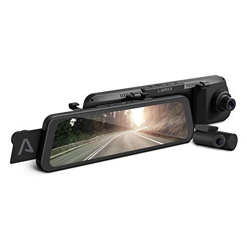 LAMAX S9 Dual Vollbild-Rückspiegel-Dashcam mit Full-HD-Rückkamera, Wi-Fi, APP, 9,66-Zoll-IPS-Display, hohe Qualität Nachtaufnahme, Radarerkennung, GPS, LDWS, FCWS, Sprachsteuerung